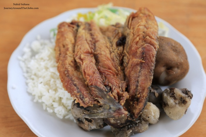 Fried trout with rice, boiled potato, and veges in Chinchero market, Peru