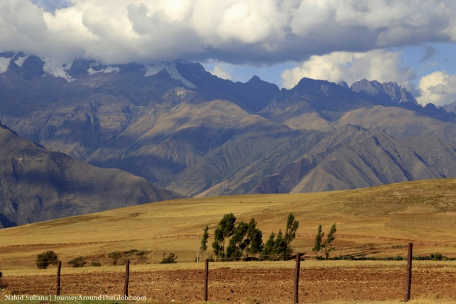 Moray Terrace surrounded by Andes, in Peru