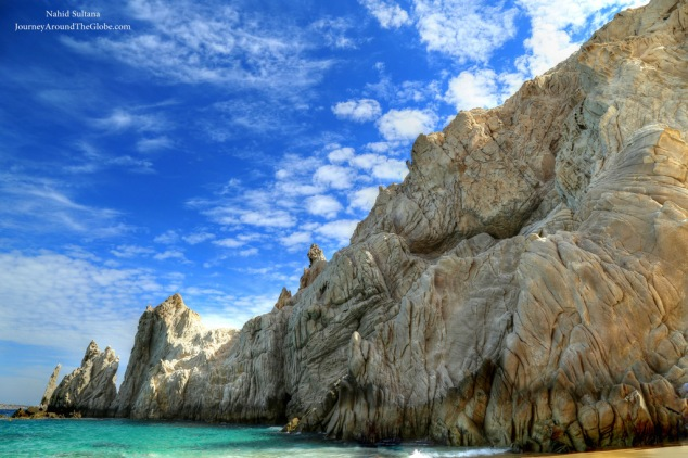 30 million years old rock formation of Lover's Beach in Cabo, Mexico