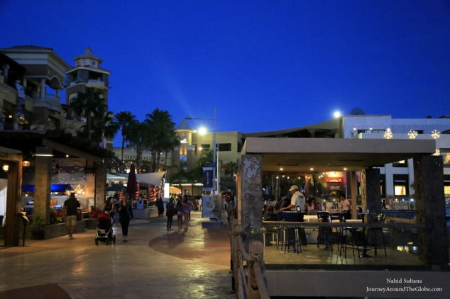 Cabo Marina after dark in Mexico