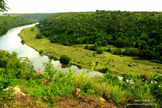View of Chavon River from the hilltop town Altos de Chavon in Dominican Republi