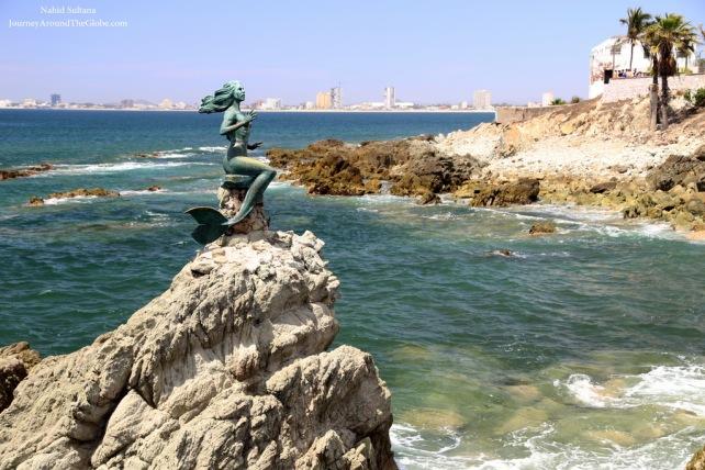 Mermaid by the beach in Mazatlan, Mexico