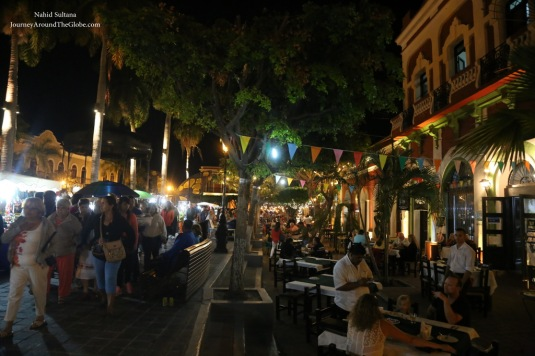 Plaza Machado at night in Mazatlan, Mexico
