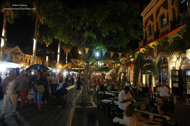 Plaza Machado at night in Mazatlan, Mexico