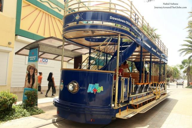 Downtown trolley ride in Oranjestad, Aruba