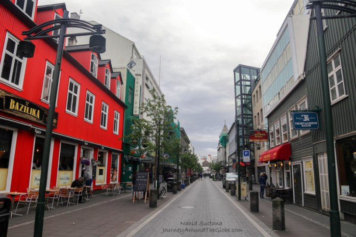 Walking around city center in Reykjavik, Iceland