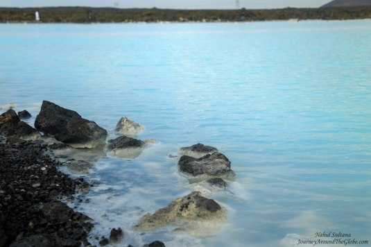 Milky blue water of Blue Lagoon in Iceland