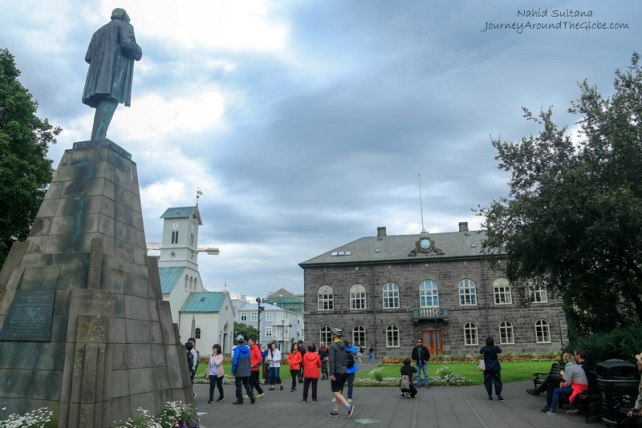 Austorvollur square and the Icelandic Parliament in Reykjavik, Iceland