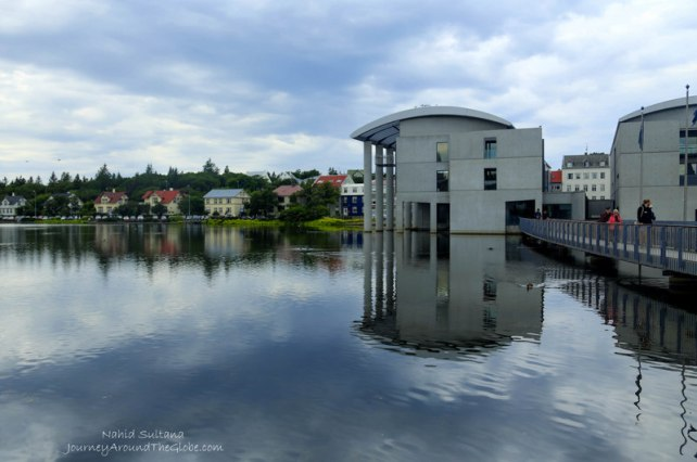Trjonin Lake and the Town Hall in Reykjavik, Iceland